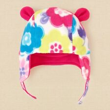 The Children's Place NWT Baby Girl Pink Flowers Fleece Hat Sz 12-18Mos.