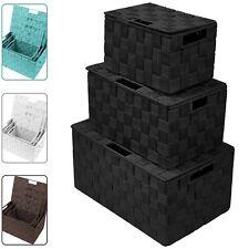 3-Pack Storage Box w/ Lid for Closet & Shelves - Woven Fabric Basket Organizer