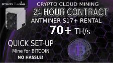70 TH/s Bitmain S17+ Antminer Rental BITCOIN Mining Cloud Contract 24hour SHA256