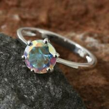 1.50ct Mercury Mystic Topaz Solitaire Ring in 925 Sterling Silver Sizes P & Q