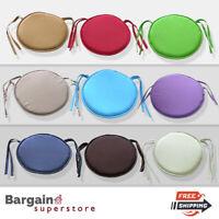 Round Chair Seat Cushions Pads Garden Dining Kitchen Bistro Tie On Straps 1/2/6x