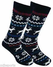 MENS FAIRISLE WINTER SOCKS REINDEER AND SNOWFLAKE SLIPPER SOCKS NON SLIP SOLES