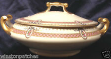 M REDON LIMOGES RDN28 PL40 FLORAL CAMEOS PINK BAND RIBBON COVERED VEGETABLE BOWL