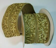 "Gold Sequins Luxe Wire Edge Ribbon, Farrisilk, 4"", Christmas Wreaths, Bows, Gift"