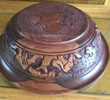 African Dark Wood  Bowl With Carved Animal And Tree Motifs