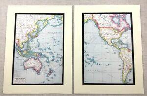 1920 Antique Prints Map of the Pacific Ocean New Zealand Australia Bering Sea