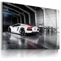 LAMBORGHINI AVENTADOR WHITE Super Sports Car Wall Art Canvas Picture  AU500 X