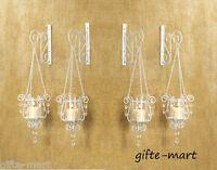 4 White Shabby Hurricane crystal hanging Candle Holder IRON Wall Sconces & hooks