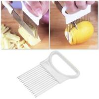Stainless Steel Onion Slicer Vegetable Tomato Holder Gadget Cutter Kitchen