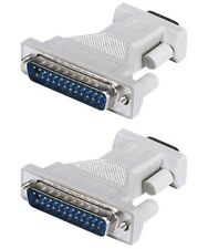 2x 9-Pin DB9 Male Serial to DB25 Male Parallel Port Adapter Converter Connector