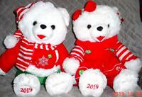 "2 WalMART CHRISTMAS Snowflake TEDDY BEARs 2019 White Girl&Boy 20"" Red/Green New"
