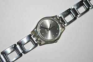 Vintage Swatch Watch LM119 SILVER COBBLES 2001 Ladies Swiss Quartz Original