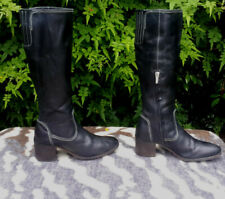 GEOX respira black leather boots size 38, UK 5