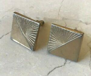 Vintage Swank Sun Rays Square Cufflinks