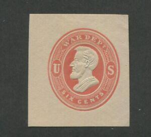 1875 United States Postal Stationary #UO58 Mint Cut Square