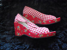 BNIB  DEPP Red Gingham Shoes  ROCKABILLY Pin up  Peep toe PLATFORM  Wedges  UK 4