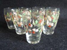 Bel ensemble de 7 verres émaillés à décor de Fleurs rose poudrée Legras