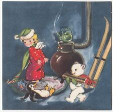 UNUSED Vintage Greeting Card Christmas Angel Pipe Stove Bear Penguin Gibson L16