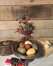 Primitive Speckled Eggs 6pc Set Paper Mache Chicken Eggs Rustic Farmhouse Decor