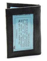 New Mens Slim Thin Bifold Leather ID Wallet Black Credit Card Window Holder Case