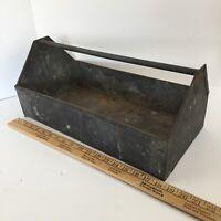 Antique Galvanized Tool Box - Medium Carrying Tray - Repurpose into a Towel Rack