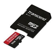 Transcend 64GB Premium microSDXC Class 10 UHS-I Memory Card with microSD Adapter