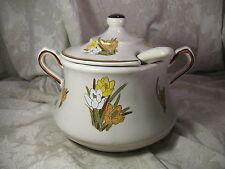 Vintage Ceramic Lidded Soup Tureen with Ladle Floral Motiff