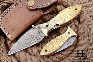 HUNTEX Custom Handmade Damascus 100 mm Long Hunting Folding Pocket Needle Knife