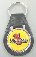 Vintage Yellow Dodge DEMON Pitchfork Black Leather Key Ring 1972 1973 1974