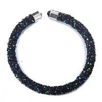 Iridescent Blue Black Crushed AB Crystal Open Bangle made with Swarovski Element