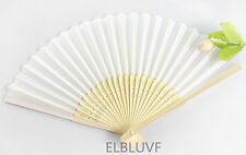 20 x Summer Ladies Hollow Outdoor Wedding Folding White Silk Fabric Hand Fans