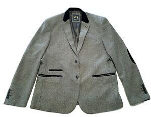 Marc Darcy Mens Herringbone Tweed Check Blazer Jacket Charcoal Grey L XL
