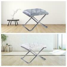 Sleek Stlyish Bench Window Seat Stool Chrome Metal Criss Cross Legs Bedroom