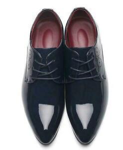 Men Patent Leather Pointy Toe Shiny Oxfords Business Formal Dress Wedding Shoe