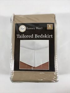 "Luxury Hotel Quality Bedding Tailored Bed Skirts 14"" Drop King Size  TAN"