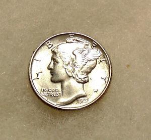 1931-P Mercury Dime - Better Date - Very Pretty BU Coin - FREE SHIPPING