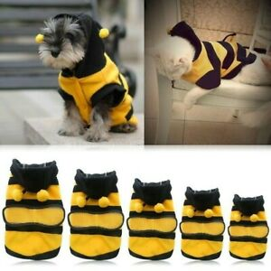 Bee Costume Pet Puppy Apparel Outfit Coat Fleece Clothes Dog Cat Hoodie Cute Fun