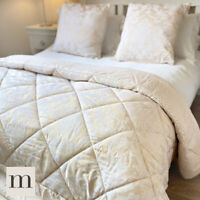 Luxury Cream Ivory Floral Quilted 3pc Set Double/King Bedspread Throw Cushions