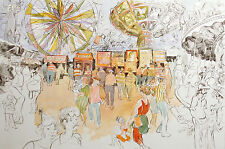 "William Papas ""Fun Fair"" Hand Colored Signed & Numbered Etching, carnival rides"