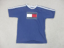 VINTAGE Tommy Hilfiger Shirt Youth Large Blue Red Flag Spell Out Logo Kid Boy *