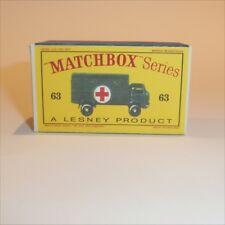 Matchbox Lesney 63 a Military Ambulance empty Repro D style Box