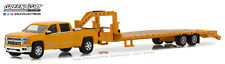 1:64 GreenLight *HITCH & TOW 13 Yellow 2015 Silverado FLATBED GOOSENECK TRAILER
