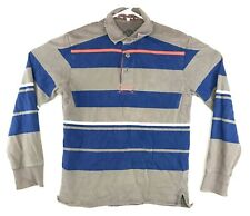Mens Fat Face Rugby Polo Shirt Long Sleeve Striped Size Small Blue Gray