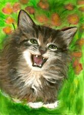 BCB Maine Coon Cat Happy Kitten Print of Painting ACEO