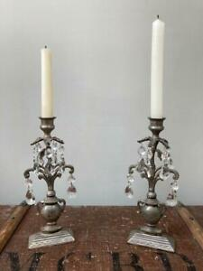 Graham and Green Silver metal and crystal glass drop vintage look candlesticks
