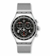 Swatch Mens Blackie Stainless Steel Chronograph Watch, Black Dial, YVS401G