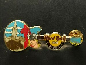 Hard Rock Cafe Pin Stockholm City Scape with Sexy Viking and Moose on Guitar