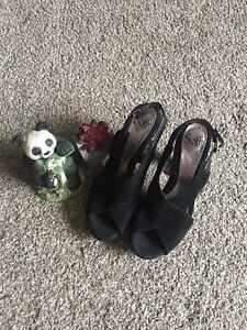 SOFFT Women's COMFORT SANDALS Open Toe Block Heel Buckle Slingback Black Suede