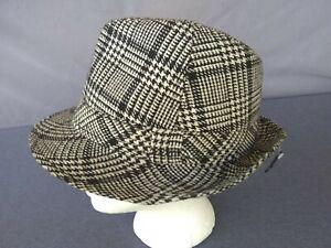 VINTAGE GRAY PLAID MENS  FEDORA HAT Size 7 - 7 1/8 NOS