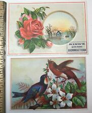 """VINTAGE TRADE CARDS LOT OF 2 """"KINGS BUCKWHEAT FLOUR"""" &"""" CORBIN, MAY & CO""""CHICAGO"""